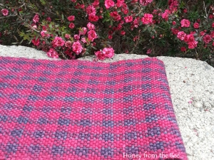 Woven Superwash Merino Scarf in Blue Red Plaid