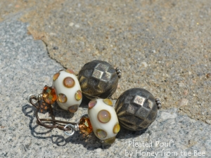 Bronze, Copper and Cream Lampwork Earrings