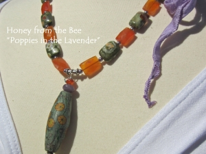 Poppies and Lavender Necklace