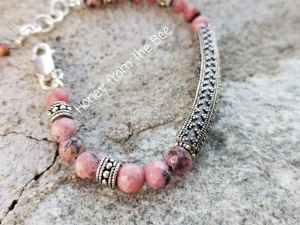 Poppies Pink and Silver bracelet