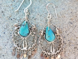 Turquoise and Silver filigree earrings