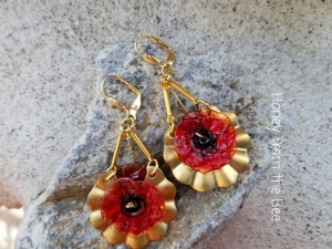 Ribbon and Poppy Earrings