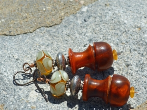 Mediterraean Earrings - Golden Horn and Silver Earrings