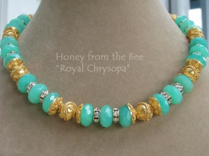 Royal Chrysopa - Vermeil and Chrysophase necklace