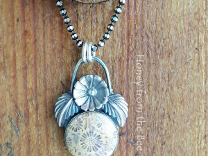 Sea Flower - Agatized Foss Coral pendant