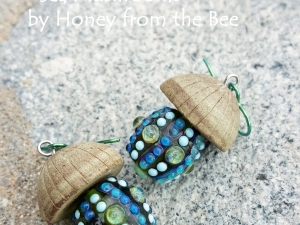 Green and Blue Lampwork Earrings with Ceramic mushroom cap