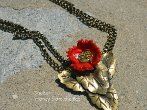 Vintage Brass and Red Poppy Necklace