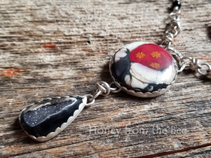 One of a Kind Red, Black, and White Statement Necklace
