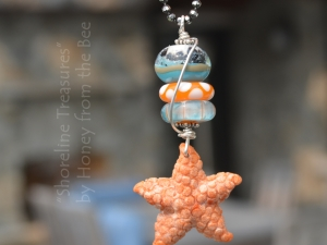 Orange and Aqua Lampwork and Starfish Pendant