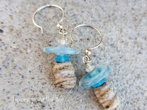 Sky Blue and White Earrings