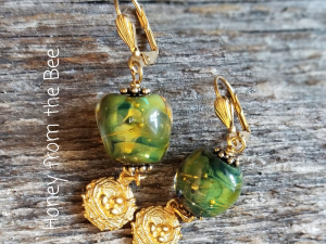 Green and gold lampwork earrings