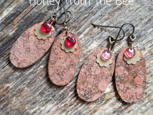 Red and Pink Floral Gemstone earrings