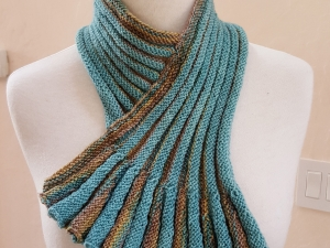 Teal and Sand pleated cowl