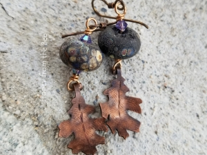Woodland earrings featuring Copper Leaves