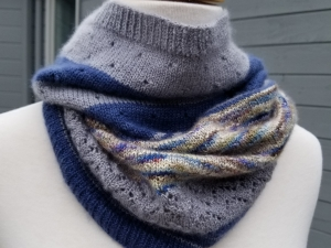 Grey and Blue Cashmere Cowl