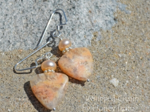 Peach Pearl and Jasper Earrings