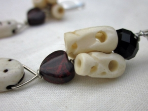 Halloween Earrings - skulls, worms, red heart