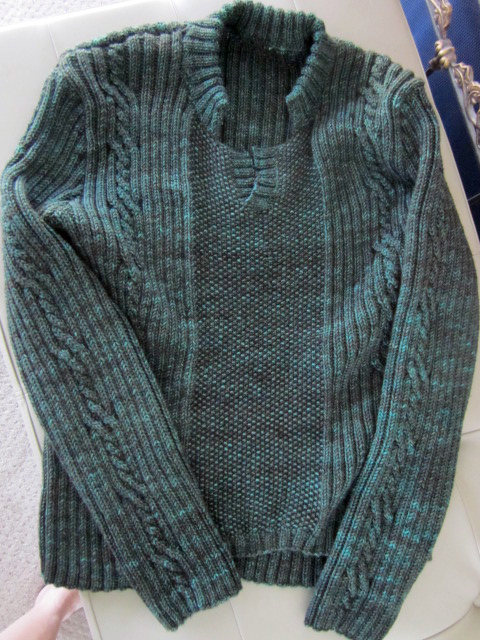 Able Cable Pullover Sweater knit in Sweet Fiber Cashmerino Worsted