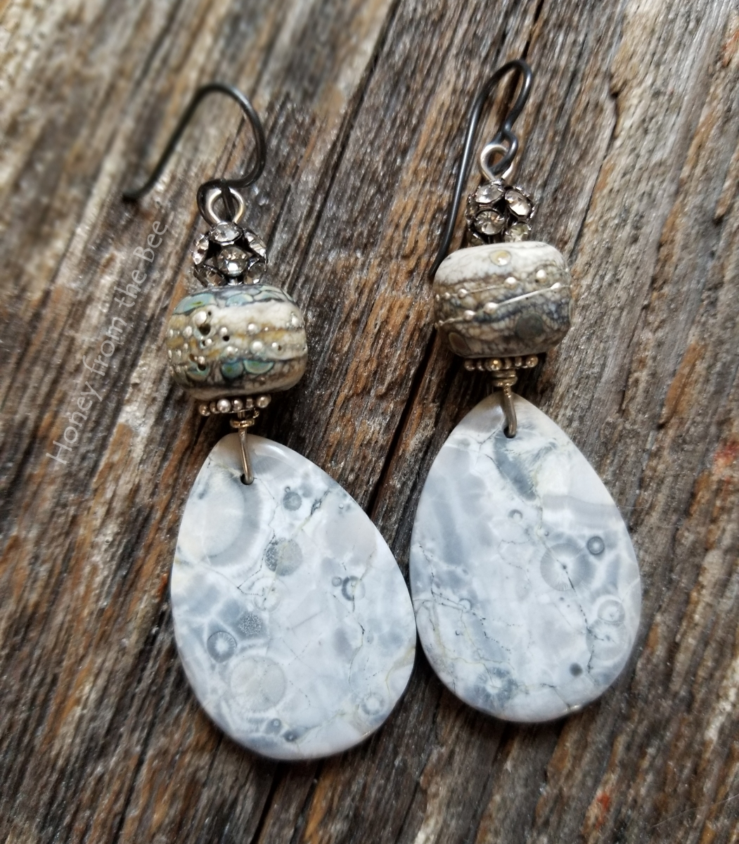 winter lampwork earrings