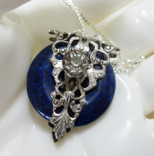Navy blue and SIlver pendant by Honey from the Bee