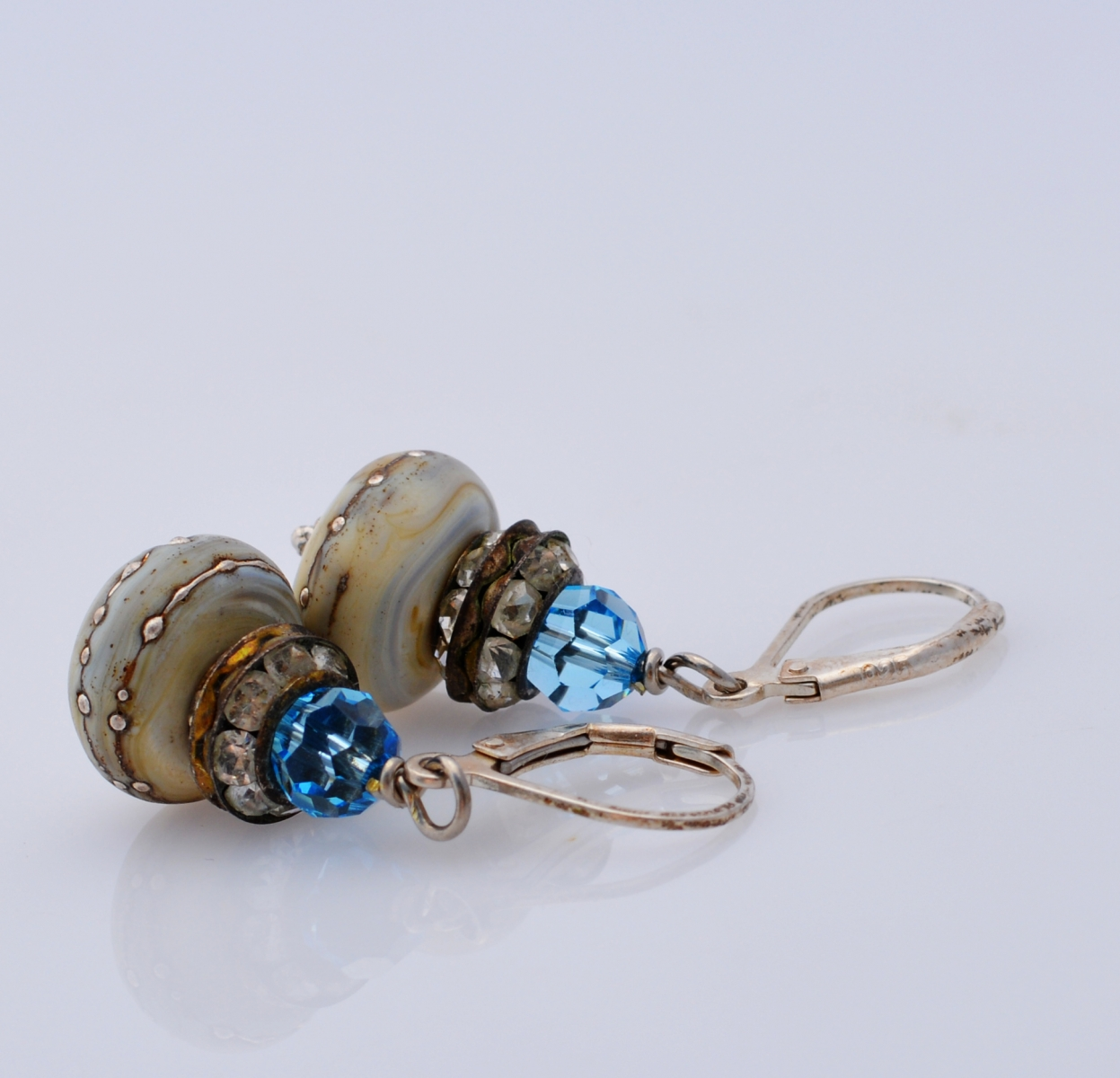 Lampwork and Crystal Earrings by Honey from the Bee