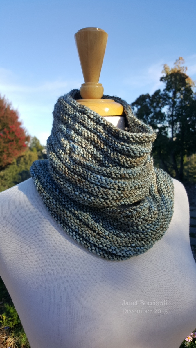 Arbutus cowl scarf in Madelinetosh DK Cove