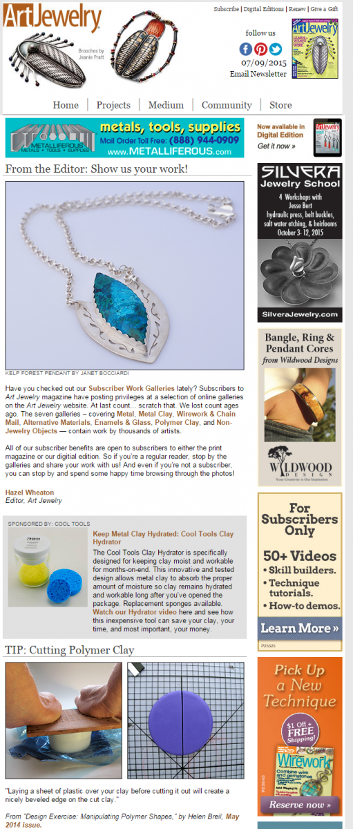 My Kelp Forest necklace is featured on Art Jewelry Magazine.