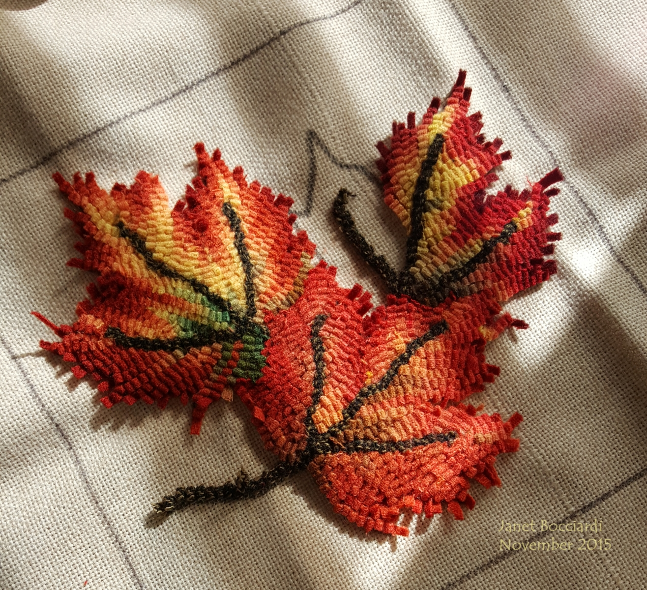 Autumn leaves hooked rug