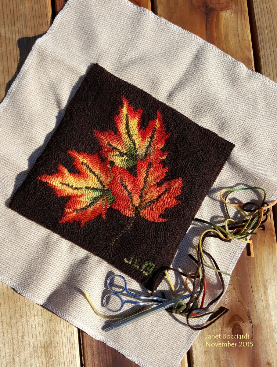 Autumn leaves hooked hot pad