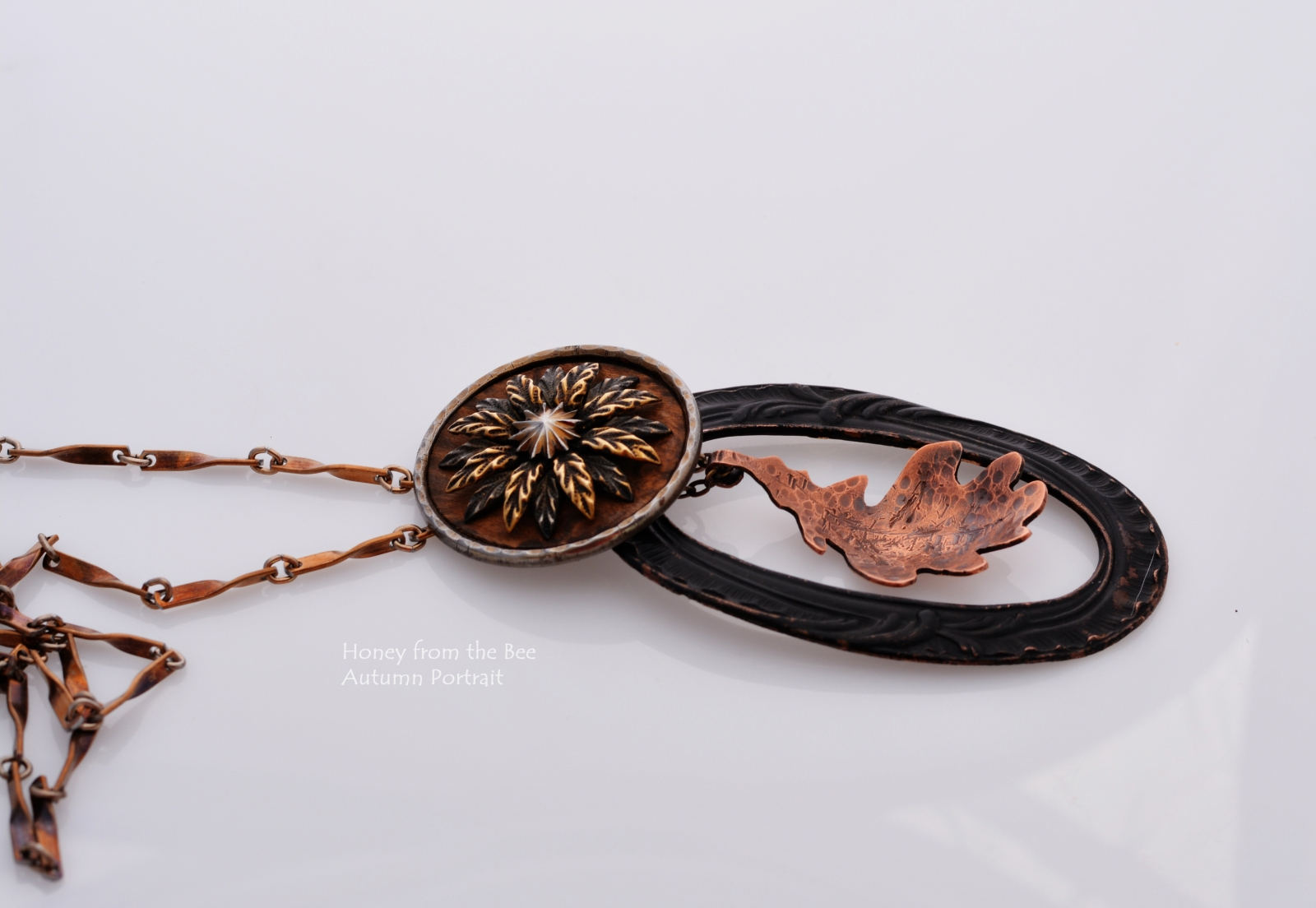 Antique Button and Buckle with Copper Leaf pendant