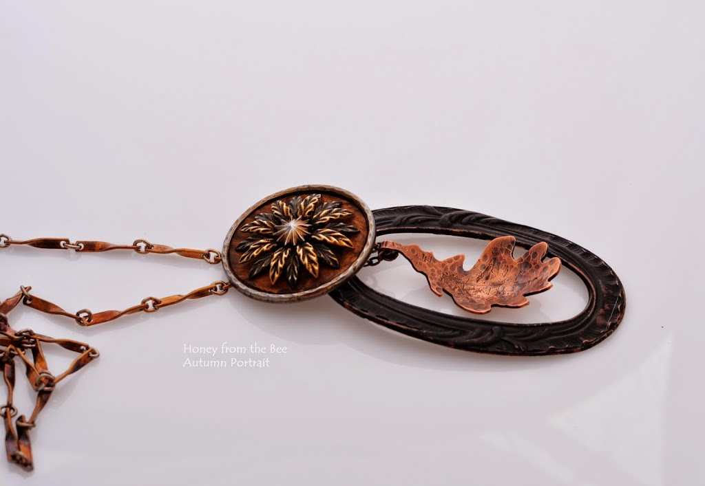 Mixed Media Forged Copper leaf pendant