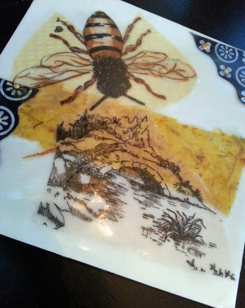 Honey bee collage in encaustics