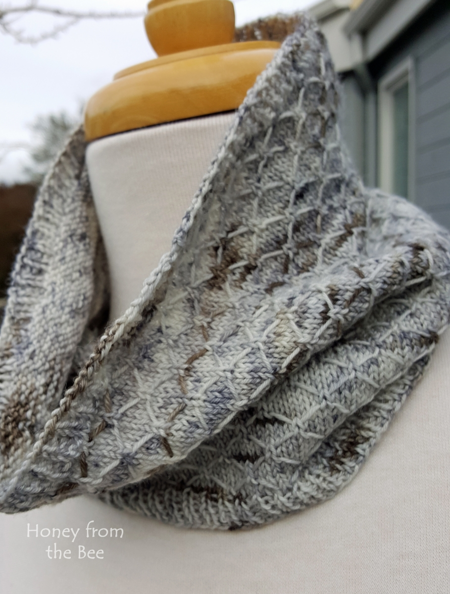 Grey and White handknit cowl