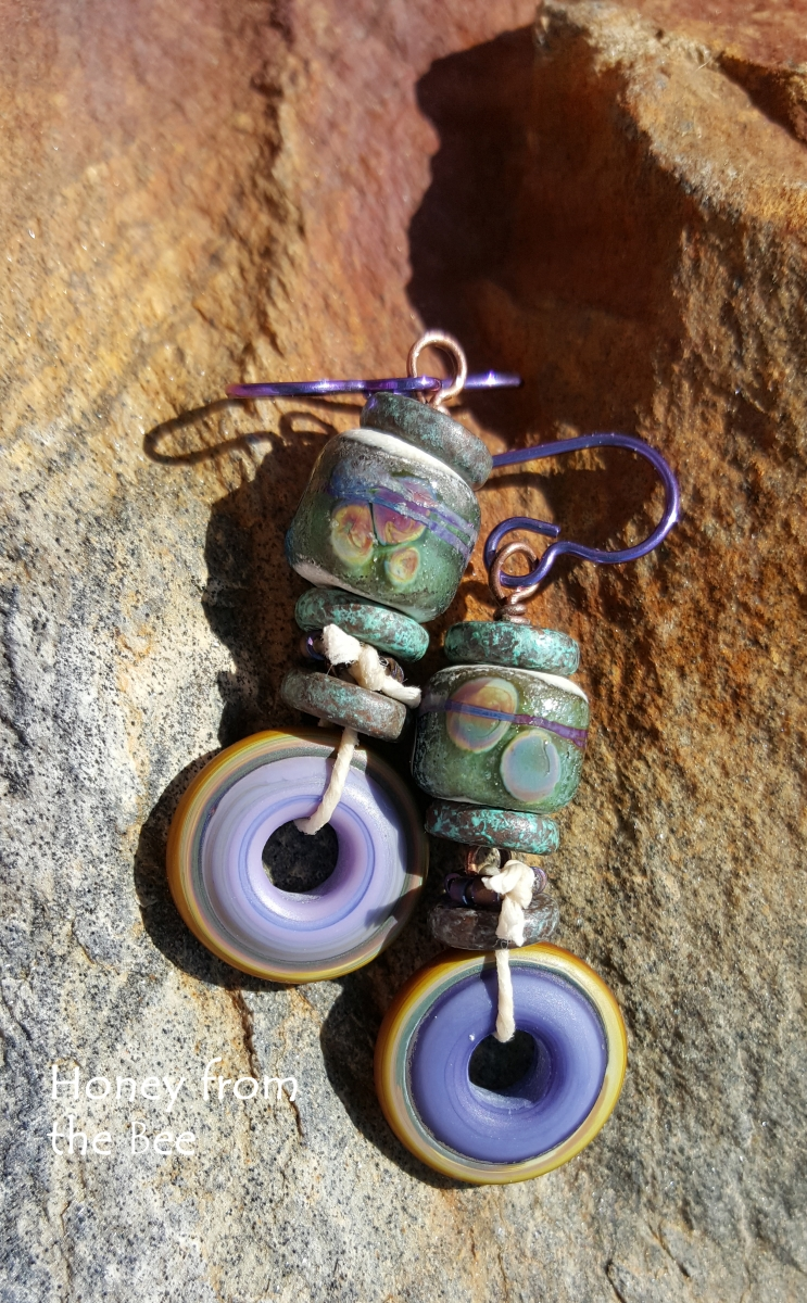 Purple and Green Boho Style Earrings