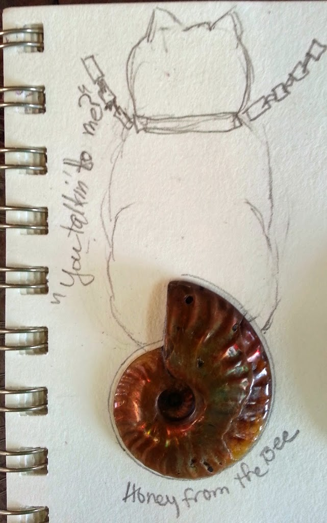 Sketch of cat pendant by Honey from the Bee