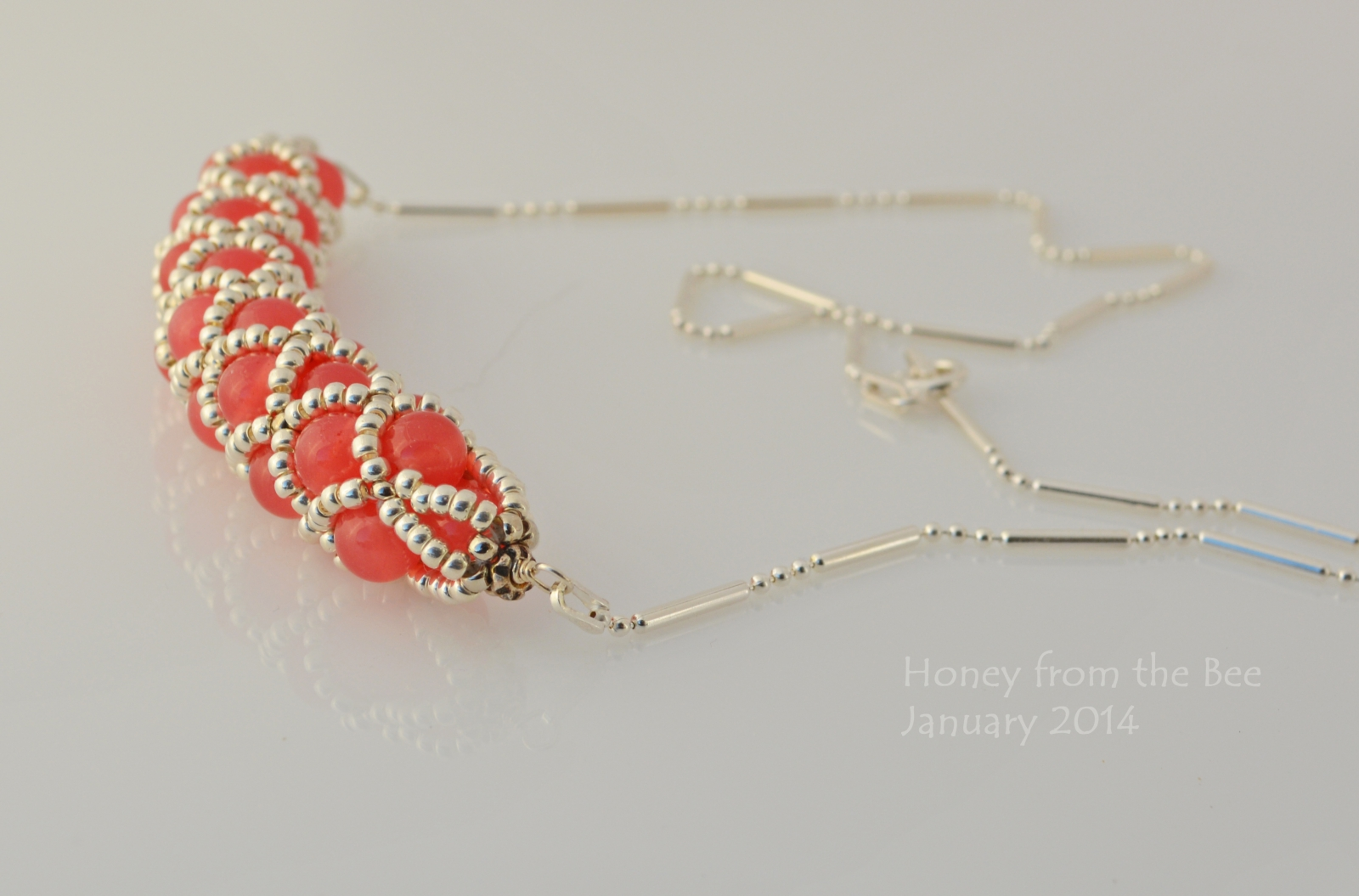 Cherry Quartz and silver seed bead netted necklace