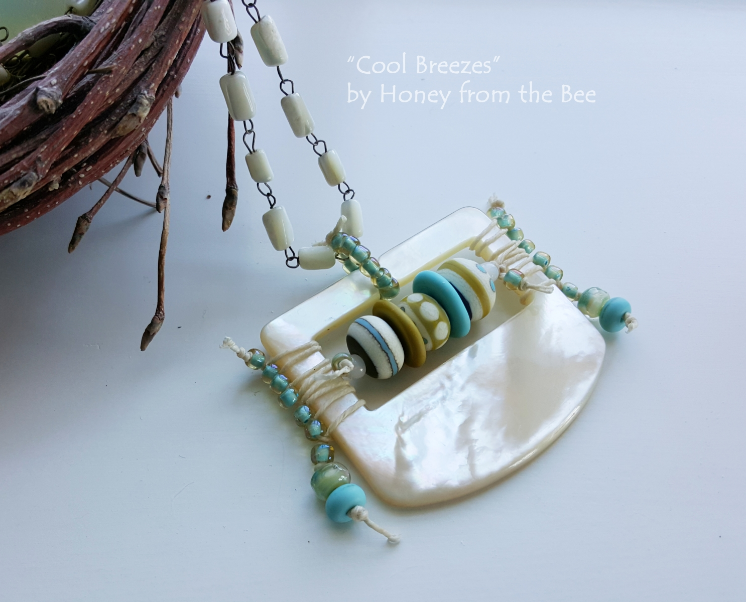 Mother of Pearl, Turquoise and Sage Green Statement Necklace