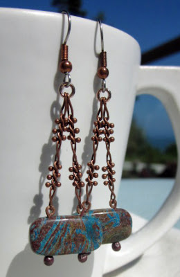 Copper and Turquoise dangle earrings by Honey from the Bee