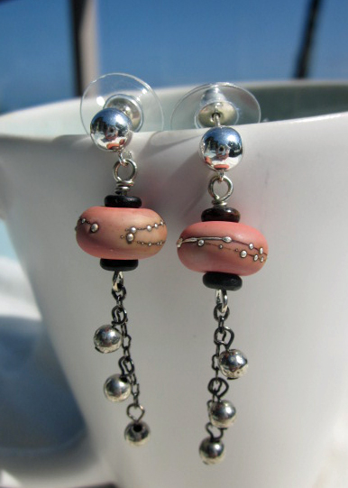 Coral lampwork with silver dangle earrings