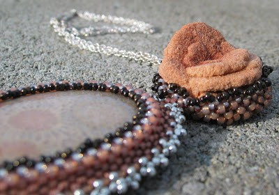 Byrite Rose and Fossilized Coral Agate pendant by Honey from the Bee