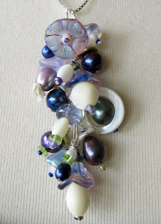 Blue and Purple bouquet bridesmaid necklace by Honey from the Bee