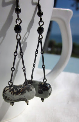 Goth style dangle earrings by Honey from the Bee