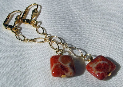 Red Fossilized Coral Agate on chain earrings by Honey from the Bee