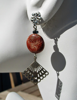 Coral Agate dangle earrings by Honey from the Bee