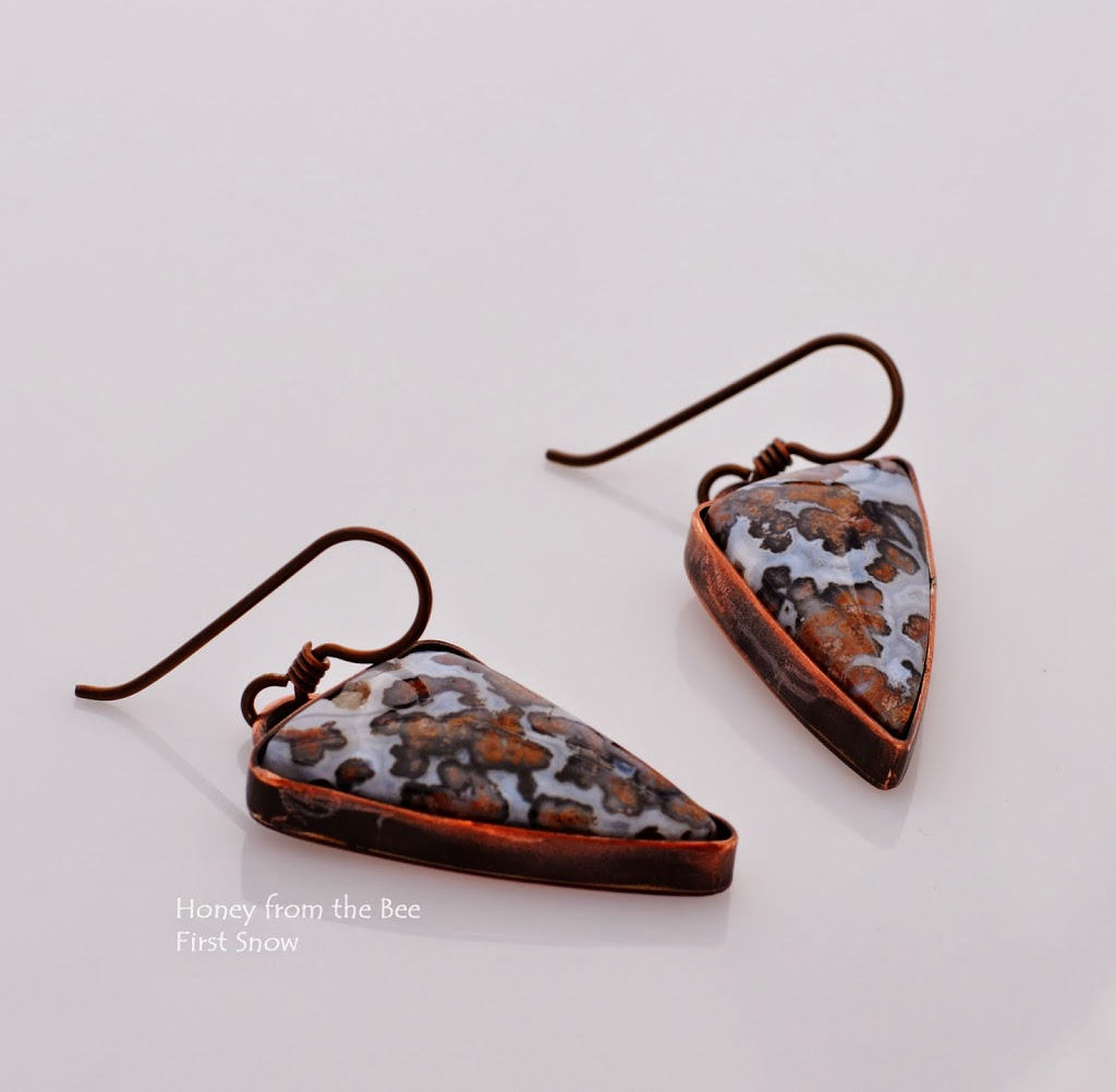 Texas Agate and Copper Earrings