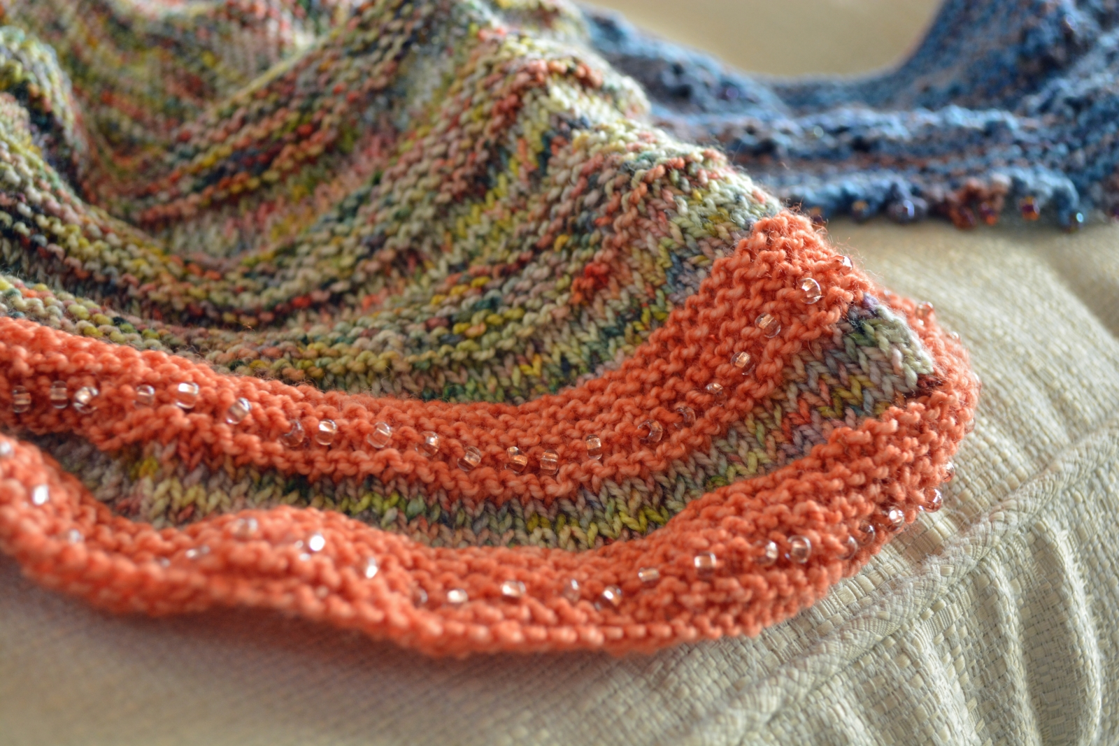 Frieda scarf, Koigu wool with beads