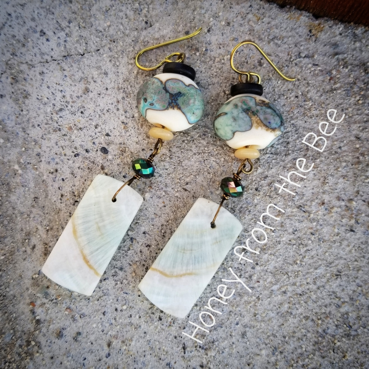 Green and White artisan earrings