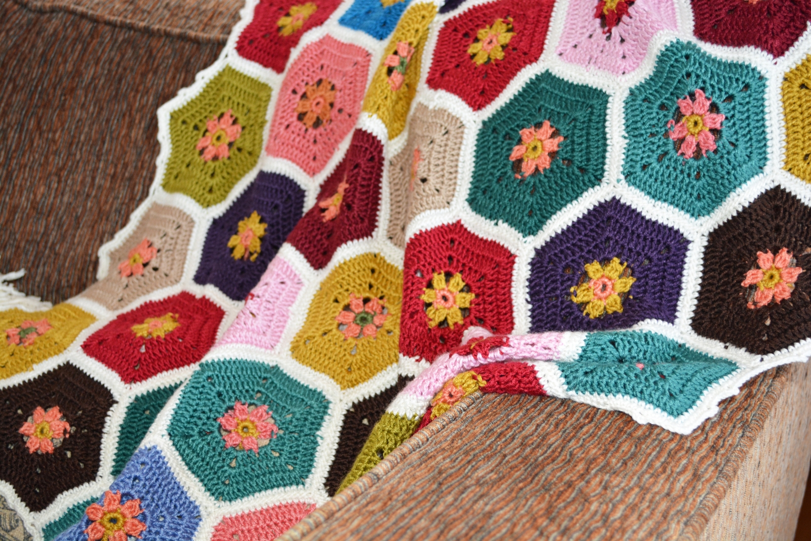 Worktable Wednesday - Multi-colored Crocheted Afghan | Unique ...