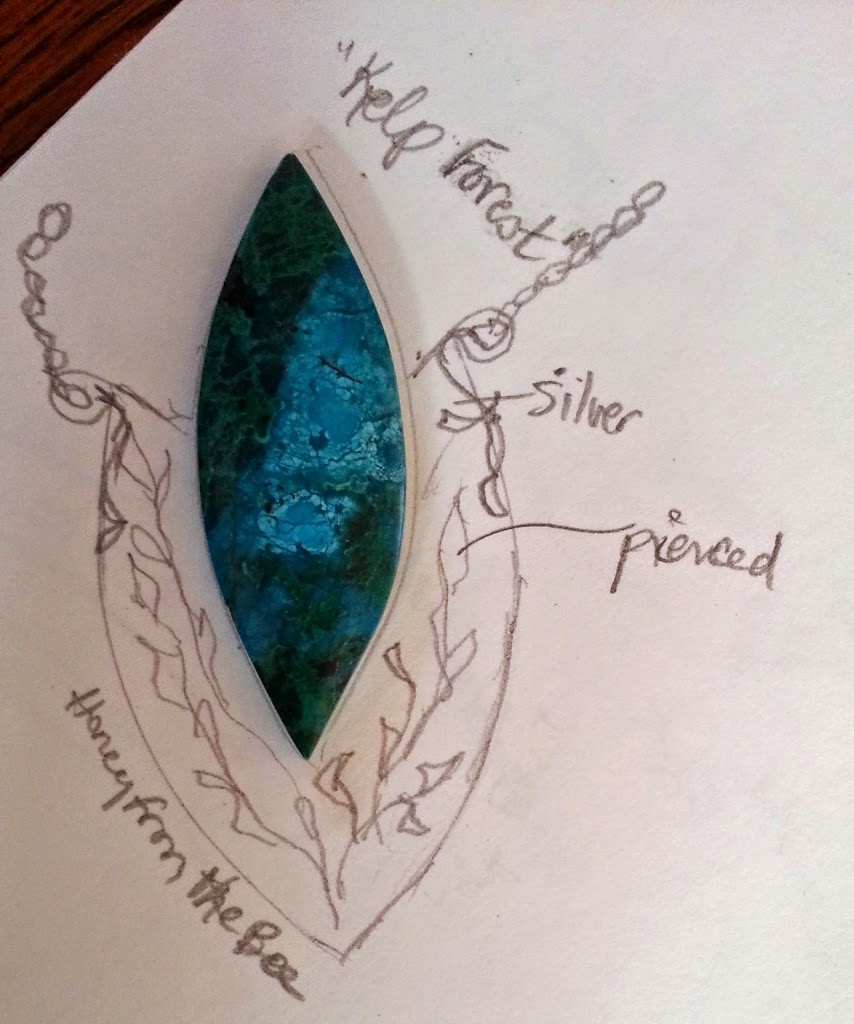 Sketch of Ocean inspired pendant by Honey from the Bee