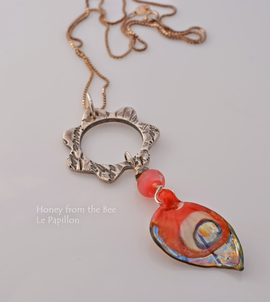 Silver and Lampwork butterfly pendant